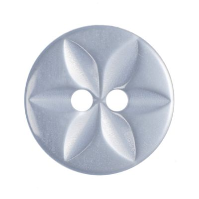 Round Polyester Pale Blue Star Button 2 Hole 14mm