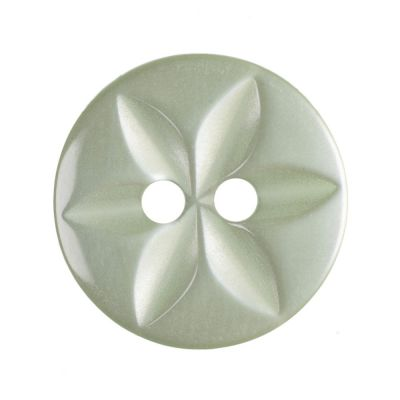 Round Polyester 2 Hole Star Button - Pale Green - 14mm / 22L