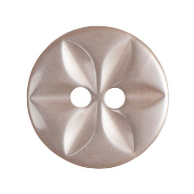 Round Polyester 2 Hole Star Button - Peach - 14mm / 22L