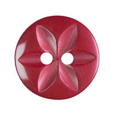 Round Polyester 2 Hole Star Button - Red - 11mm / 18L
