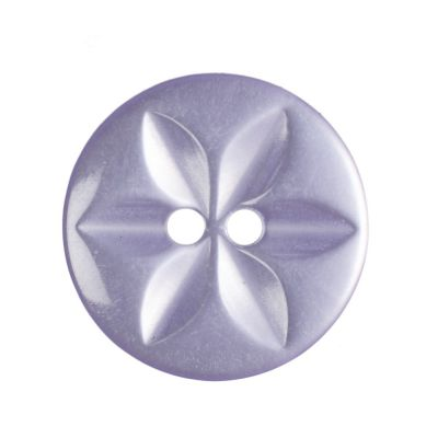 Round Polyester 2 Hole Star Button - Lilac - 16mm / 26L