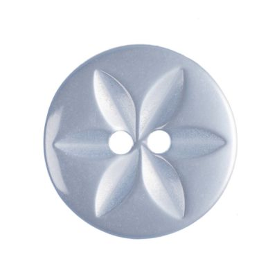 Round Polyester Pale Blue Star Button 2 Hole 16mm