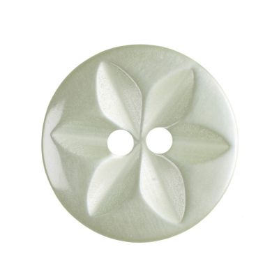 Round Polyester 2 Hole Star Button - Pale Green - 16mm / 26L
