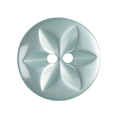 Round Polyester 2 Hole Star Button - Turquoise - 16mm / 26L