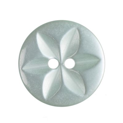 Round Polyester 2 Hole Star Button - Green - 16mm / 26L