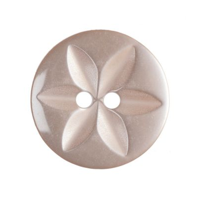 Round Polyester 2 Hole Star Button - Peach - 16mm / 26L