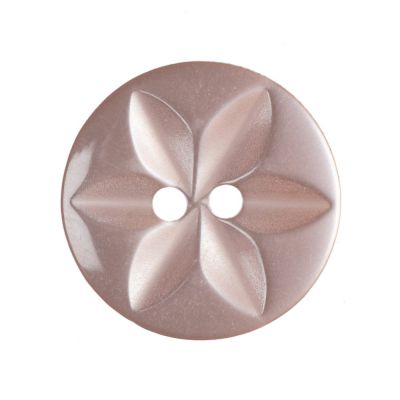 Round Polyester 2 Hole Star Button - Pink - 16mm / 26L