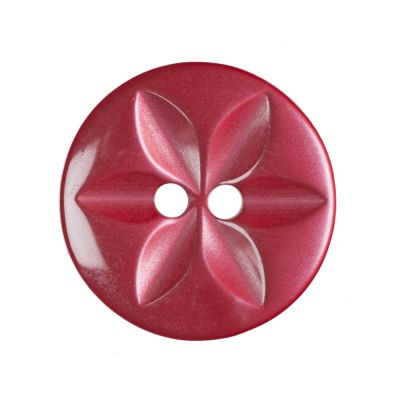Round Polyester 2 Hole Star Button - Red - 16mm / 26L