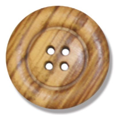 Round Olive Wood 4 Hole Button 25mm