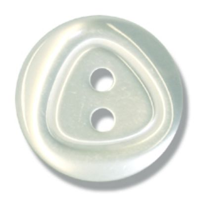 Round Pearl White Polyester Angled Blouse Button 2 Hole - 16mm / 26L