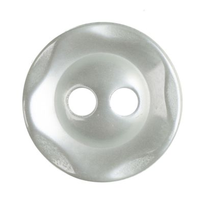 Scalloped Edge Round Poyester 2 Hole Button - Pale Teal - 11mm / 18L