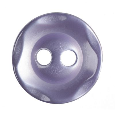 Scalloped Edge Round Poyester 2 Hole Button - Lilac - 11mm / 18L