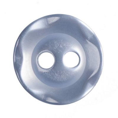 Round Scalloped Edge Polyester Pale Blue 2 Hole Buttons 11mm