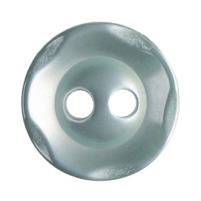 Scalloped Edge Round Poyester 2 Hole Button - Green - 11mm / 18L