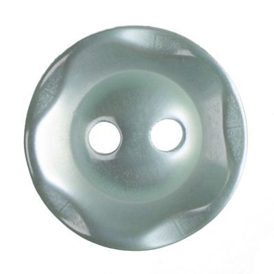 Scalloped Edge Round Poyester 2 Hole Button - Pale Teal - 14mm / 22L