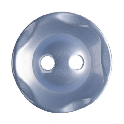 Round Scalloped Edge Polyester Pale Blue 2 Hole Buttons 14mm