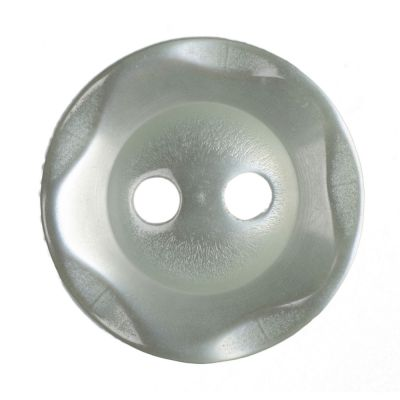Scalloped Edge Round Poyester 2 Hole Button - Green - 14mm / 22L