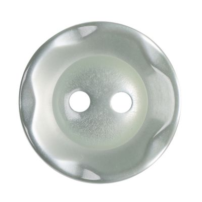 Scalloped Edge Round Poyester 2 Hole Button - Pale Teal - 16mm / 26L