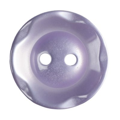 Scalloped Edge Round Poyester 2 Hole Button - Lilac - 16mm / 26L