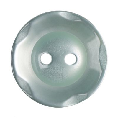 Scalloped Edge Round Poyester 2 Hole Button - Green - 16mm / 26L