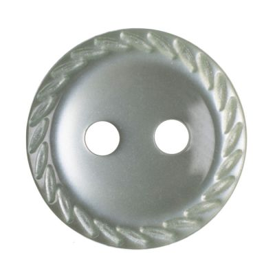 Cut Edge Round Poyester 2 Hole Button - Pale Teal - 11mm / 18L