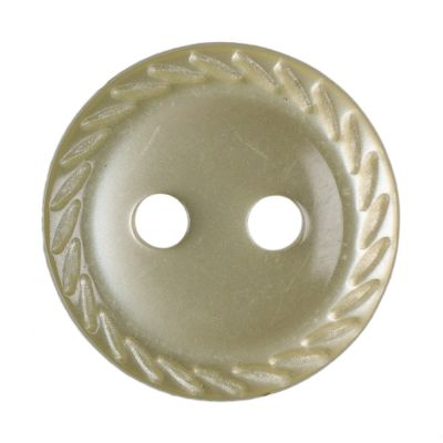 Cut Edge Round Poyester 2 Hole Button - Yellow - 11mm / 18L
