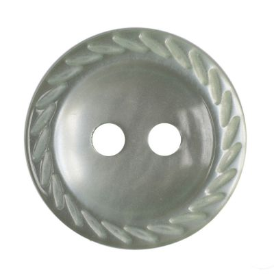 Cut Edge Round Poyester 2 Hole Button - Pale Teal - 14mm / 22L