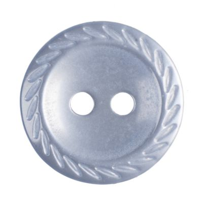 Round Polyester Pale Blue Cut Edge Button 2 Hole 14mm