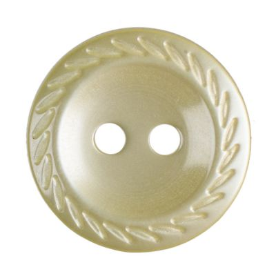 Cut Edge Round Poyester 2 Hole Button - Yellow - 14mm / 22L