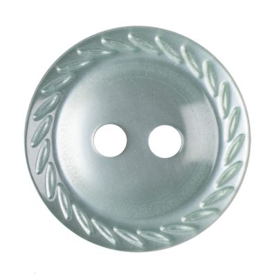 Cut Edge Round Poyester 2 Hole Button - Green - 14mm / 22L