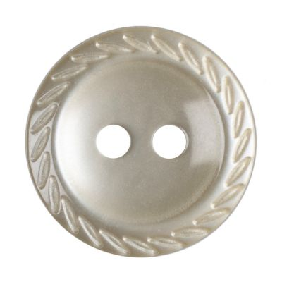Cut Edge Round Poyester 2 Hole Button - Beige - 14mm / 22L