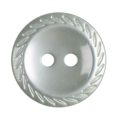 Cut Edge Round Poyester 2 Hole Button - Pale Teal - 16mm / 26L