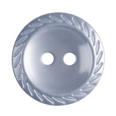 Round Polyester Pale Blue Cut Edge Button 2 Hole 16mm