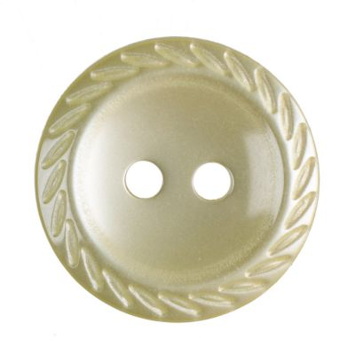Cut Edge Round Poyester 2 Hole Button - Yellow - 16mm / 26L