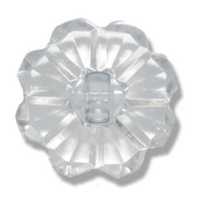Flower Shaped Clear White Button 2 Hole 15mm