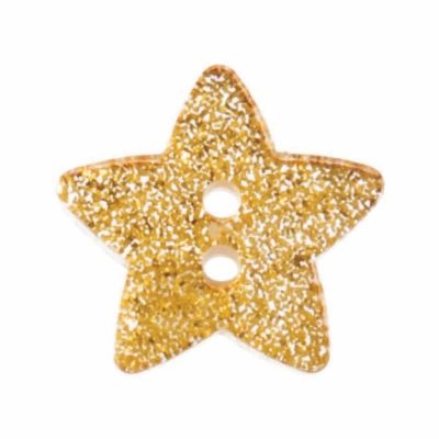 Star Shaped Gold Glitter Button 2 Hole 18mm
