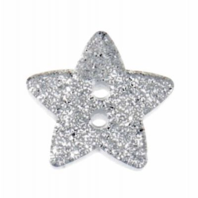 Star Shaped Silver Glitter Button 2 Hole 18mm