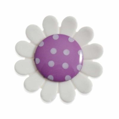 Daisy Shaped Purple Centred Shank Button 23mm