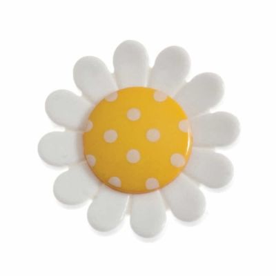 Daisy Shaped Yellow Centred Shank Button 23mm