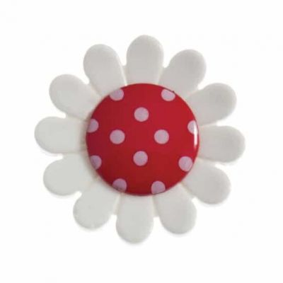 Daisy Shaped Red Centred Shank Button 23mm
