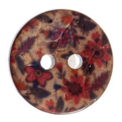 Round Coconut Shell Button - Floral Print - 18mm / 28L