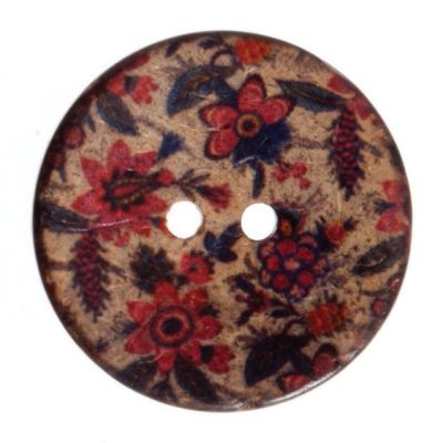 Round Coconut Shell Button - Floral Print - 30mm / 48L