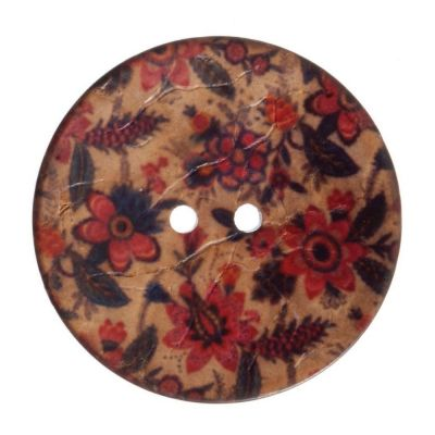 Round Coconut Shell Button - Floral Print - 40mm / 64L