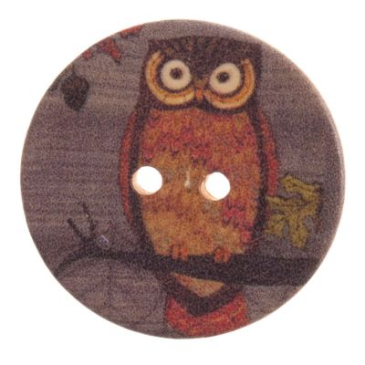 Round Wooden Owl 2 Hole Button 25mm