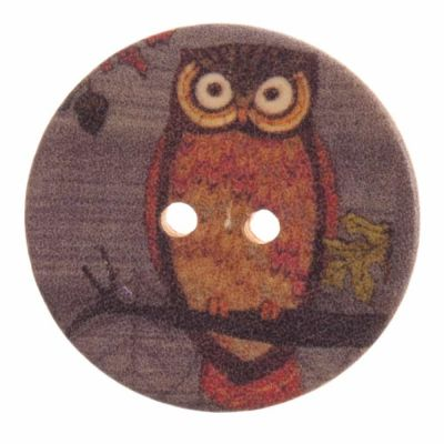 Round Wooden Owl 2 Hole Button 30mm
