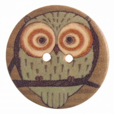 Round Wooden Large Eyed Owl 2 Hole Button 25mm
