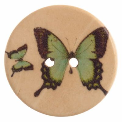 Round Wooden Green Butterfly 2 Hole Button 20mm