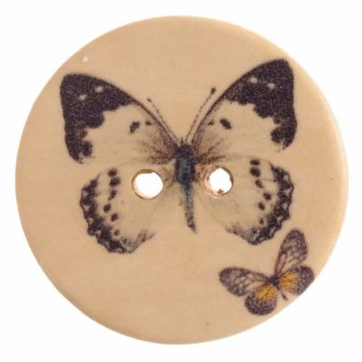 Round Wooden Cream Butterfly 2 Hole Button 25mm