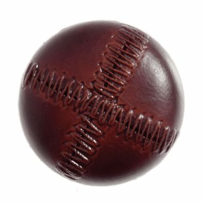 Imitation Leather Button - Stitched Look - Red Brown - 28mm Wide (44L)