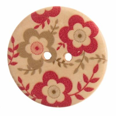 Round Wooden Floral 2 Hole Button 20mm